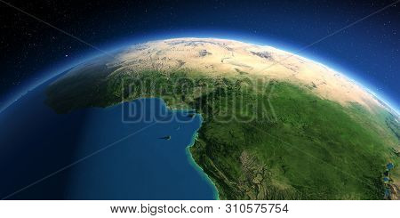 Highly Detailed Planet Earth. Exaggerated Precise Relief Lit Morning Sun. Africa. Countries Of The G