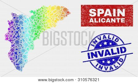 Component Alicante Province Map And Blue Invalid Scratched Stamp. Colorful Gradient Vector Alicante
