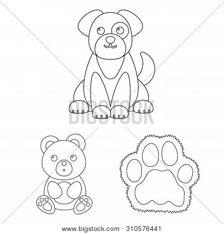 An Unrealistic Animal Outline Icons In Set Collection For Design. Toy Animals Bitmap Symbol Stock We