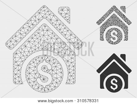 Mesh Home Price Model With Triangle Mosaic Icon. Wire Frame Triangular Mesh Of Home Price. Vector Co