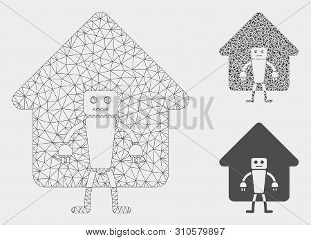 Mesh Home Robot Model With Triangle Mosaic Icon. Wire Carcass Polygonal Mesh Of Home Robot. Vector M