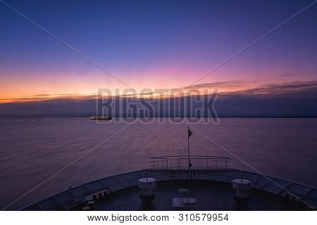 Front Of A Large Passenger Ferry Sailing Between Zante Island And Kyllini Town, Greece