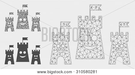 Mesh Happy Bulwark Model With Triangle Mosaic Icon. Wire Carcass Triangular Mesh Of Happy Bulwark. V