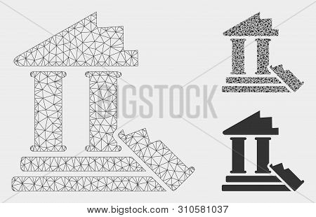 Mesh Historic Ruins Model With Triangle Mosaic Icon. Wire Frame Triangular Mesh Of Historic Ruins. V
