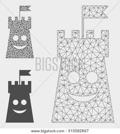 Mesh Happy Bulwark Tower Model With Triangle Mosaic Icon. Wire Carcass Polygonal Mesh Of Happy Bulwa