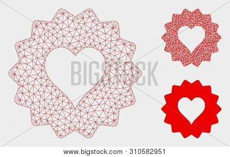 Mesh Hearts Token Model With Triangle Mosaic Icon. Wire Frame Triangular Mesh Of Hearts Token. Vecto