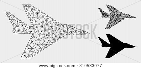 Mesh Intercepter Plane Model With Triangle Mosaic Icon. Wire Carcass Polygonal Mesh Of Intercepter P