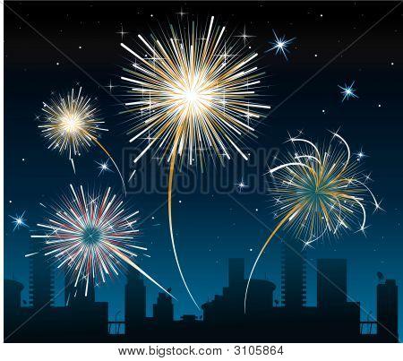 Fogos de artifício sobre a cidade