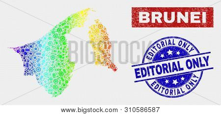 Industrial Brunei Map And Blue Editorial Only Textured Stamp. Colorful Gradient Vector Brunei Map Mo
