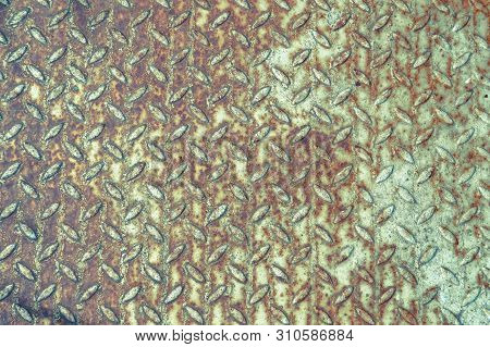 Texture Of Iron Metal Old Ancient Industrial Anti-slip Floor With Notched Bulging For Safety So As N