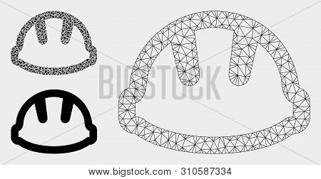 Mesh Hardhat Model With Triangle Mosaic Icon. Wire Carcass Polygonal Mesh Of Hardhat. Vector Mosaic