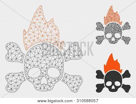 Mesh Hellfire Model With Triangle Mosaic Icon. Wire Carcass Triangular Mesh Of Hellfire. Vector Mosa
