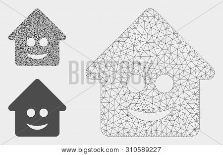 Mesh Happy Home Model With Triangle Mosaic Icon. Wire Carcass Triangular Mesh Of Happy Home. Vector