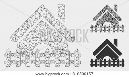 Mesh Home Fence Model With Triangle Mosaic Icon. Wire Carcass Polygonal Mesh Of Home Fence. Vector M