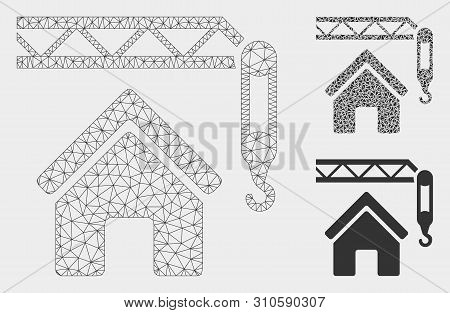 Mesh Home Construction Model With Triangle Mosaic Icon. Wire Carcass Triangular Mesh Of Home Constru
