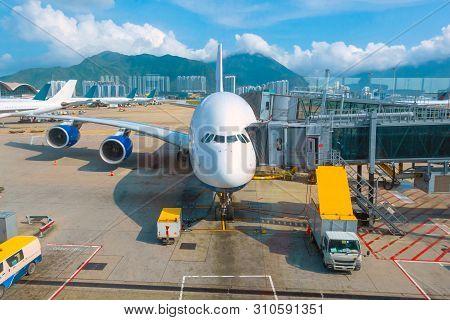 Jet Flights Dock In An International Airport