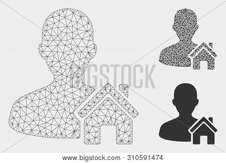Mesh Home User Model With Triangle Mosaic Icon. Wire Carcass Triangular Mesh Of Home User. Vector Mo
