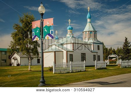 Holy Transfiguration Of Our Lord Chapel In Town Of Kenai In Alaska