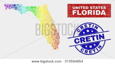 Service Florida State Map And Blue Cretin Scratched Seal. Spectral Gradiented Vector Florida State M