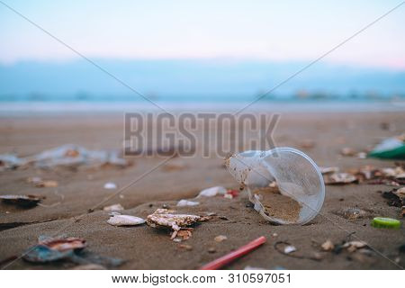 Trash, Plastic, Garbage, Bottle... Environmental Pollution On Sandy Beach. Royalty High-quality Stoc