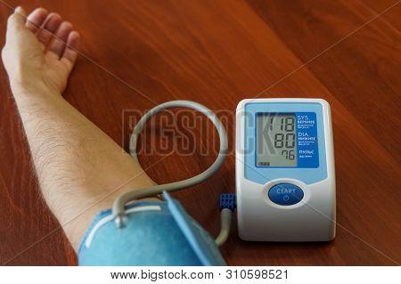 Mens Health Check Blood Pressure.and Heart Rate With Digital Pressure Gauge Standard Blood Pressure