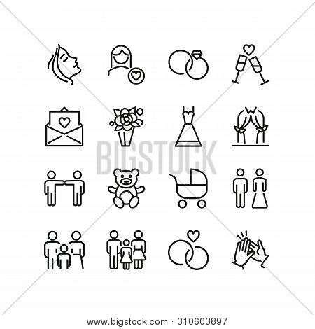 Marriage Line Icons. Set Of Line Icons. Clapping Hands, Family, Teddy Bear. Marriage Concept. Vector