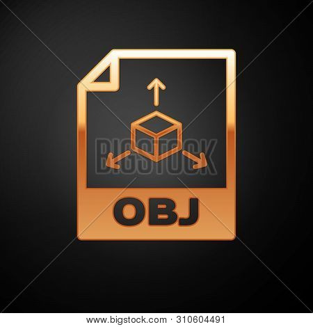 Gold Obj File Document Icon. Download Obj Button Icon Isolated On Black Background. Obj File Symbol.
