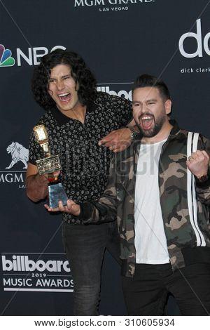LAS VEGAS - MAY 1:  Dan Smyers, Shay Mooney, Dan + Shay at the 2019 Billboard Music Awards at MGM Grand Garden Arena on May 1, 2019 in Las Vegas, NV