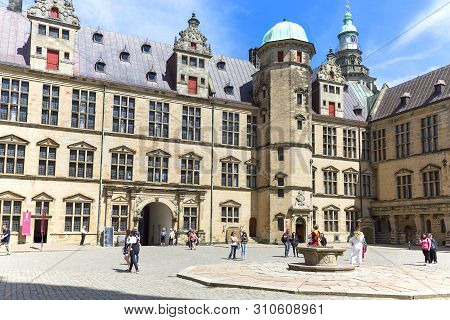 Helsingor, Denmark - July 23, 2019: Medieval Kronborg Castle On The Oresund Strait, Courtyard With T