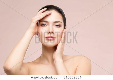 Woman Natural Beauty Makeup Portrait, Fashion Model Touching Face By Hands, Beautiful Girl Skin Care
