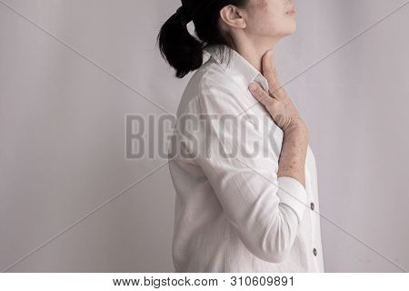 Throat Pain. Closeup Of Sick Woman With Sore Throat Feeling Bad, Suffering From Painful Swallowing,