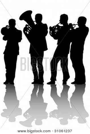Vector drawing of old jazz orchestra