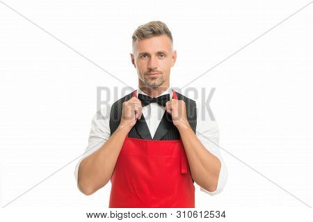 Ready To Serve. Man Cook Hipster Apron. Chef Cook Red Apron White Background. Bearded Man Waiter Or