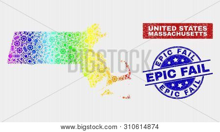 Assemble Massachusetts State Map And Blue Epic Fail Textured Seal. Rainbow Colored Gradiented Vector