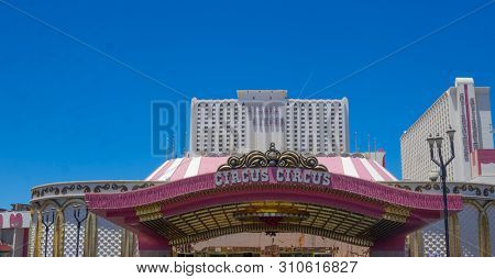 Las Vegas,AZ/USA - 6.27.2019 Circus Circus opened 10.18.1968 by J. Sarno & S. Mallin, becoming the flagship casino for Circus Circus Enterprises.  It is the largest permanent big top in the world.