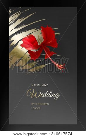 Tropical Red Hibiscus Flower On Dark Black And Gold Background Vector. Beautiful Botanical Design Wi