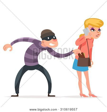 Criminal Thief Stealing Purse From Helpless Woman Female Girl Character Isolated Cartoon Design Temp