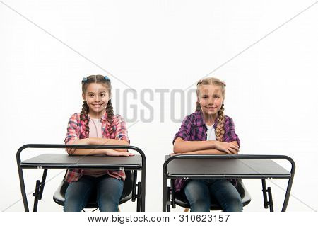 Students Classmates Sit Desk. Back To School. Private School Concept. Individual Schooling. Elementa