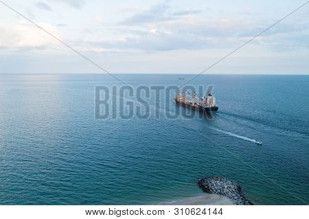 Cargo Ship In Sea. Export And Import Concept. Barge Ship Cargo Containers In Sea. Cargo Delivery. Lo