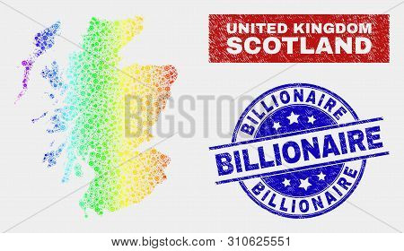 Constructor Scotland Map And Blue Billionaire Textured Seal. Colorful Gradient Vector Scotland Map M