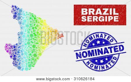 Assembly Sergipe State Map And Blue Nominated Distress Seal Stamp. Rainbow Colored Gradient Vector S