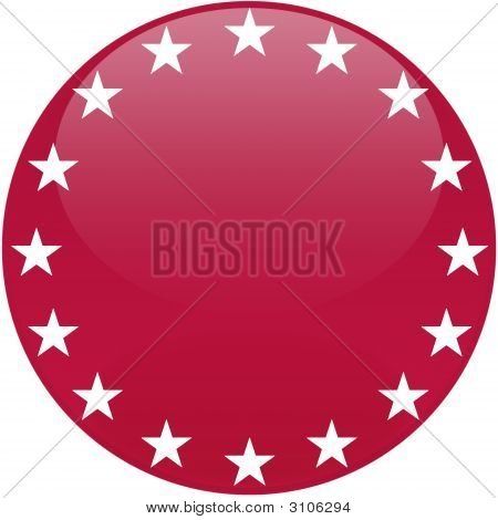 Red Button With White Stars
