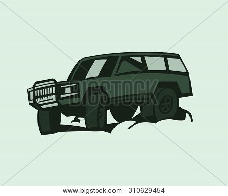 Off-road Car. Off-roading Suv Adventure, Extreme Competition Element For An Emblem And Car Club Desi