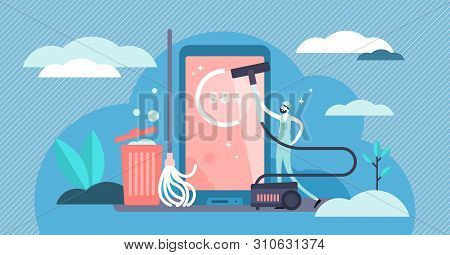 Cleaner Vector Illustration. Flat Tiny Full Memory With Applications Problem Persons Concept. Metaph