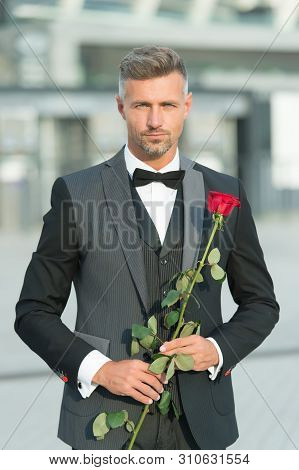 Dating Services. How To Be Romantic. Perfectionist Concept. Romantic Gentleman. Man Mature Confident