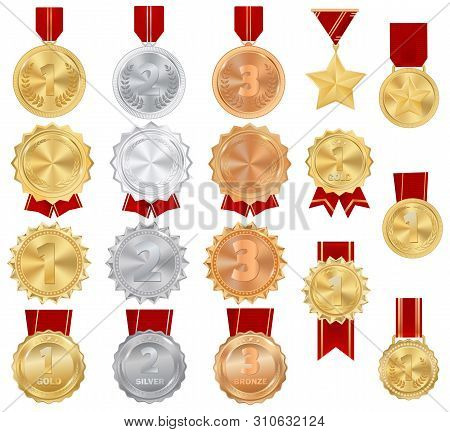 Medal Vector Gold Award Of Winner Symbol On Sport Competition Achievement Illustration Championship