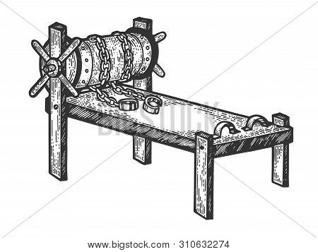 Rack Medieval Torture Device Sketch Engraving Vector Illustration. Scratch Board Style Imitation. Ha