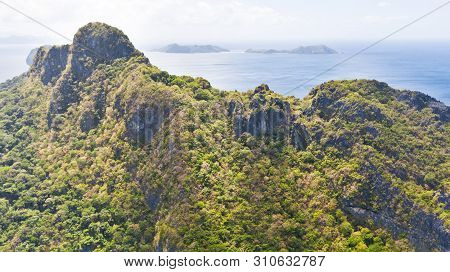 High Rocky Island With A Forest.seascape With An Unoccupied Island.