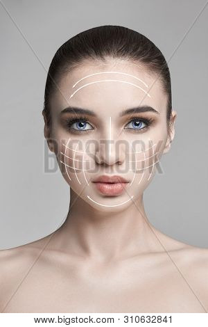 poster of Pure beauty skin nature, skincare beauty face, woman, makeup, lifting facelift, line, massage. Natural Spa cosmetic, professional plastic face, sexy model, anti-aging anti-wrinkle cosmetics, skin care