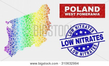 Productivity West Pomeranian Voivodeship Map And Blue Low Nitrates Textured Stamp. Spectrum Gradient